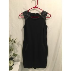 Banana Republic Black Dress with Leather Shoulders